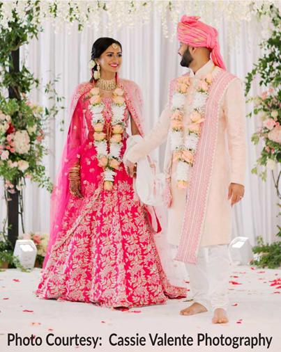 Bride and Groom Walking around Fire called Saptapadi of Phera
